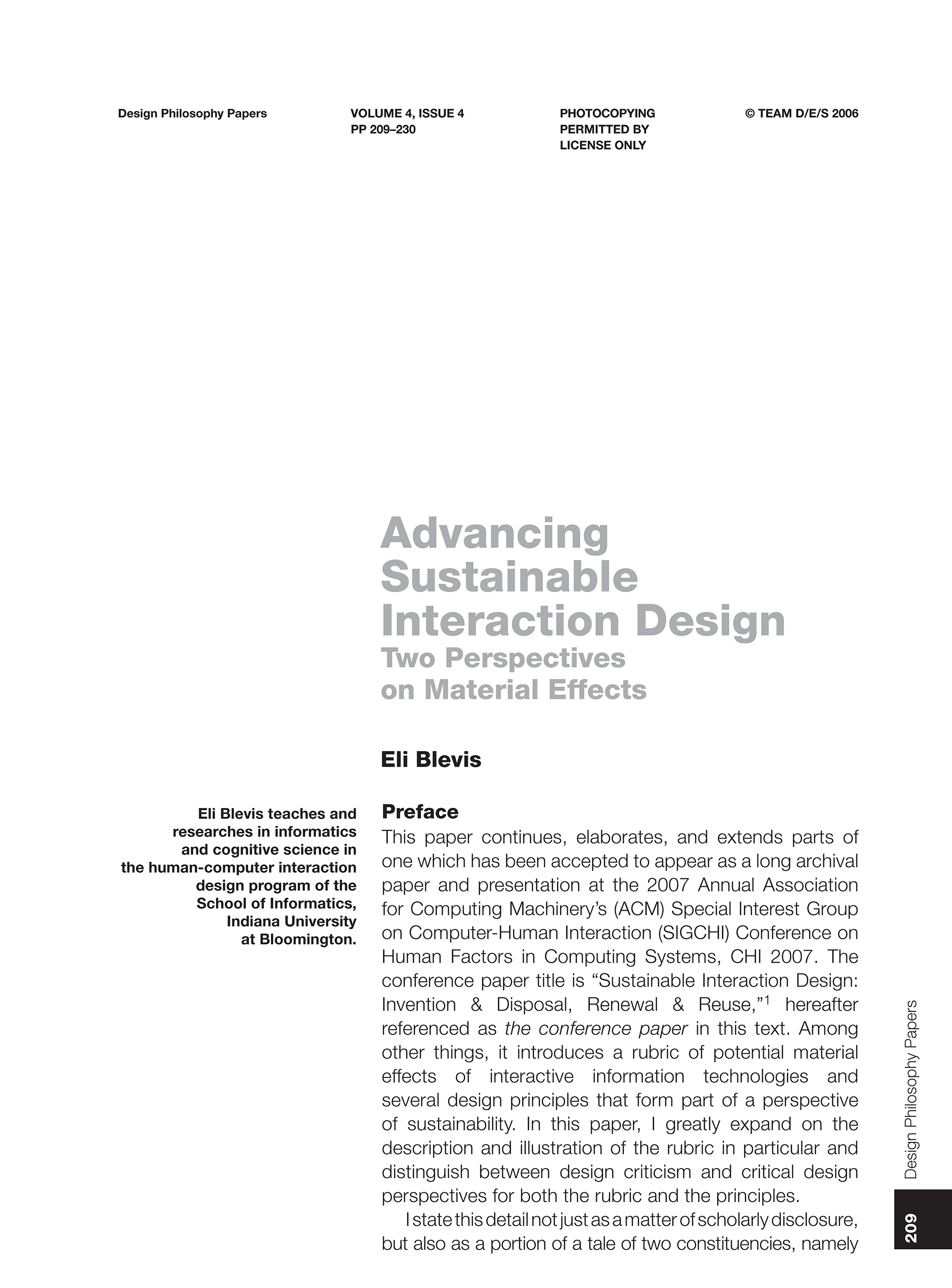 Advancing Sustainable Interaction Design: Two Perspectives on Material Effects